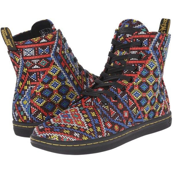 Dr. Martens Hackney (Aztec Print) Women's Shoes ($65) ❤ liked on Polyvore featuring shoes, multi, laced shoes, aztec shoes, metallic shoes, aztec print shoes and dr martens footwear
