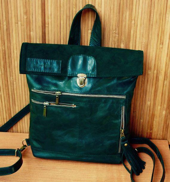 TANZANIA. Leather backpak Dark green Leather от MadamEliseeva