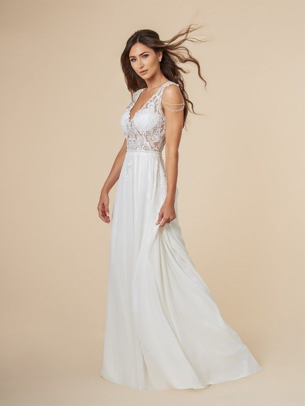 Lace And Chiffon Beach Wedding Dress A Line Bridal Gowns