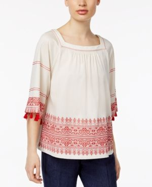 Weekend Max Mara Zambia Embroidered Fringe Blouse - Red XXL
