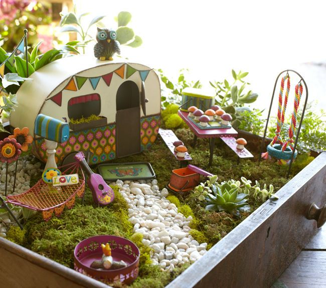 Groovy Colorful Metal Rv Camper For Fairy Gardens Vintage