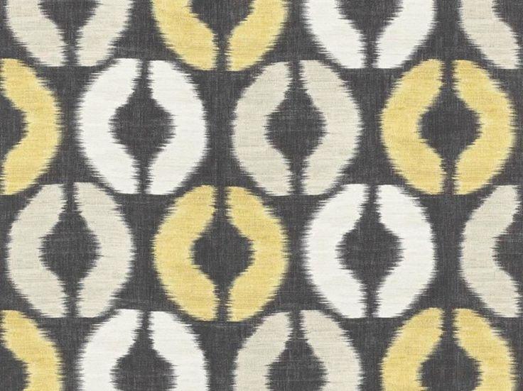Tessuto lavabile multicolor in lino con motivi grafici BASKIAT by Dedar