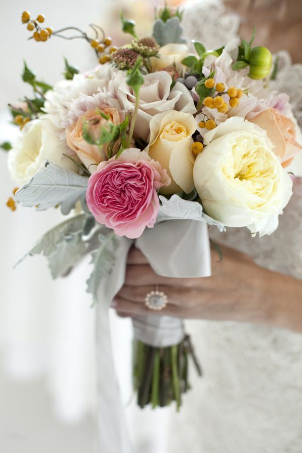 unique rose bouquet // photo by Chudleigh Weddings // http://ruffledblog.com/spring-wedding-flower-trends
