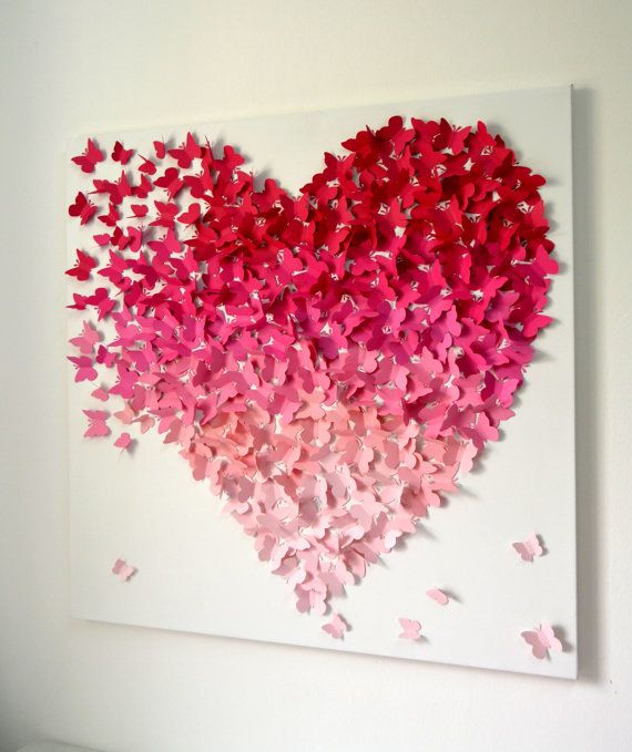 Small Pink Ombre Butterfly Heart/ 3D Butterfly Wall by RonandNoy I can totally make this...i think. heidi