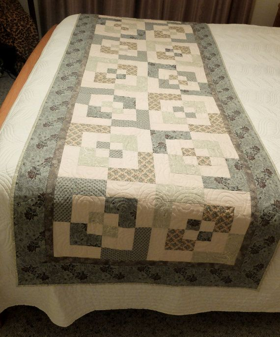 Patchwork quilted light olive and sage green and cream bed runner, Queen bed runner, modern bedroom decor