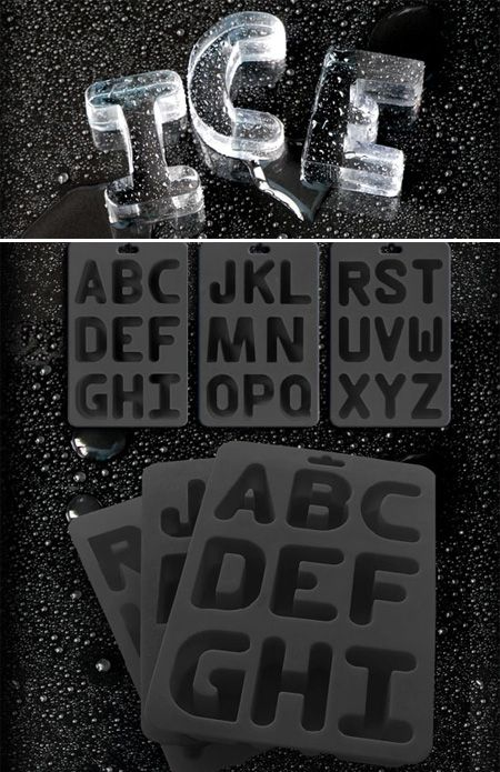 Ice cubes from the Alphabet Ice Tray-- reminds me of the Royco Alphabet Soup from my childhood!