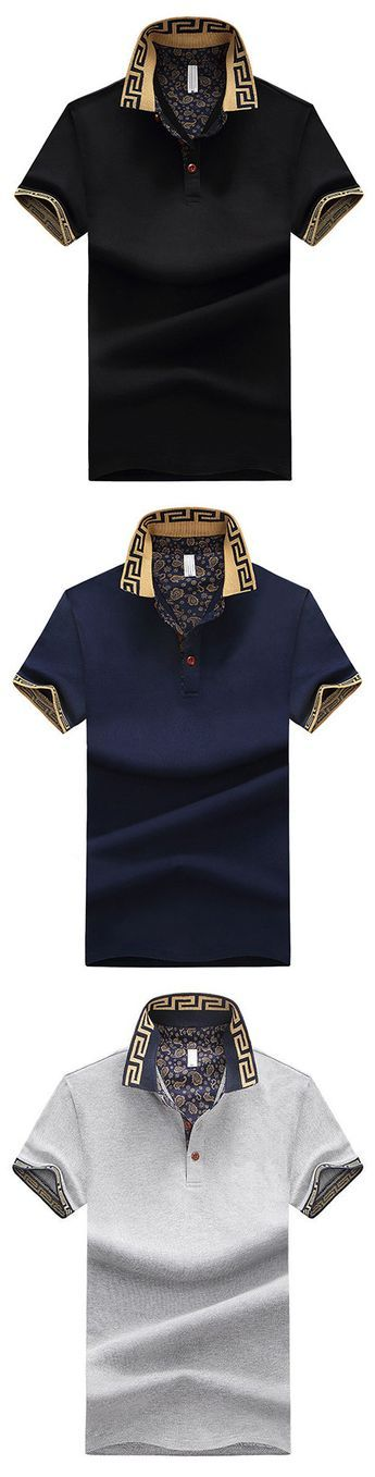Mens Stylish Polo Shirt Printed Collar Short Sleeve Spring Summer Casual Tops