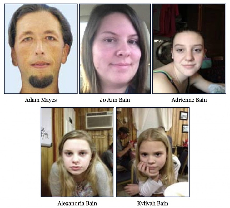 April 27, 2012, Adam Mayes killed Jo Ann Bain and her oldest daughter Adrienne; and kidnapped the two younger girls, Alexandria and Kyliyah. One week later they were discovered in a heavily wooded area not far from Mayes' home. When officers told Mayes to put his hands up, he raised a 9mm pistol and shot himself in the head. The girls were sent to a Memphis hospital, treated, and released. Mayes' body was refused by family members and was donated to the University of TN's body farm in…