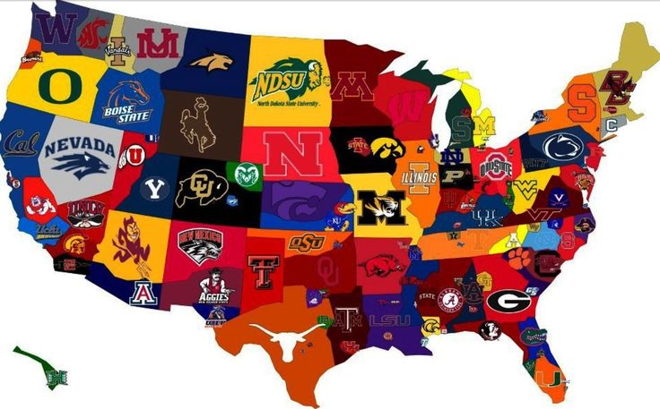 US Sports Map Of Colligate Sports Teams Inspirational