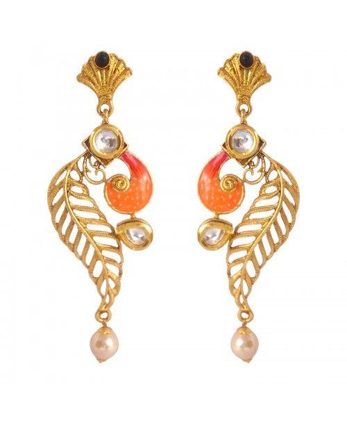Women's Fashionable Kundan Polki Copper Earrings_Orange Black10