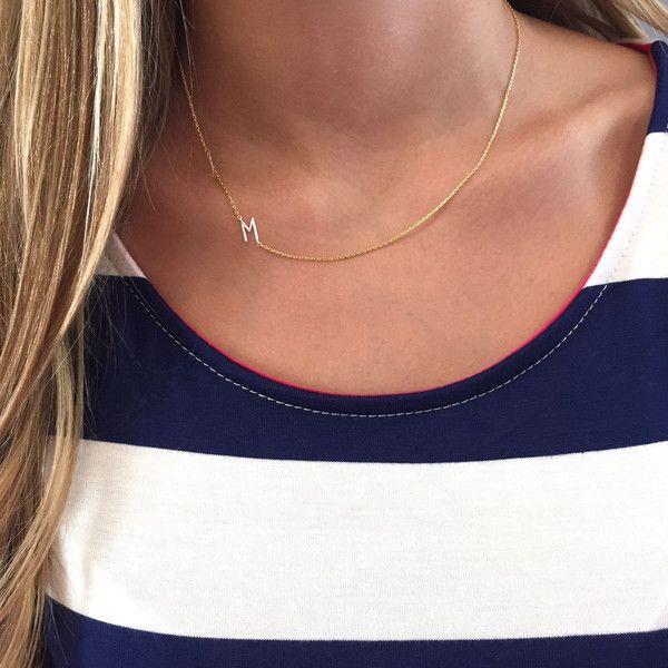 http://www.fashiontrendwebsites.com/category/initial-necklace/ Gold Sideways Initial Necklace