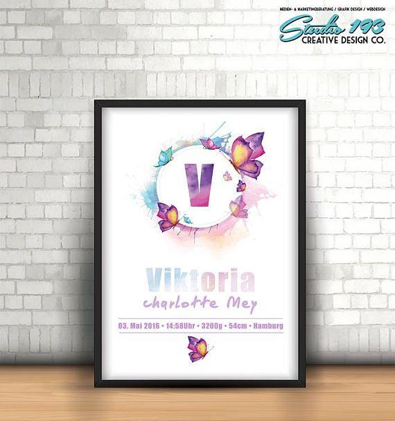 Popular Personalisierte Geburtsanzeige Schmetterling Nursery Print Printable Baby Babyshower Kindpinkeln