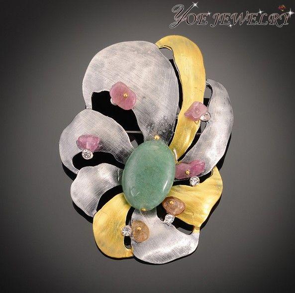 Эмаль винтаж цветок броши с естественным розовый камень.