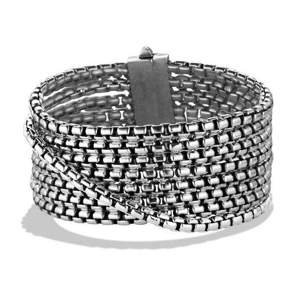 David Yurman Box Chain Eight-Row Bracelet (302.930 HUF) ❤ liked on Polyvore featuring jewelry, bracelets, silver, david yurman, david yurman jewellery, silver bangles, silver chain jewelry and chains jewelry