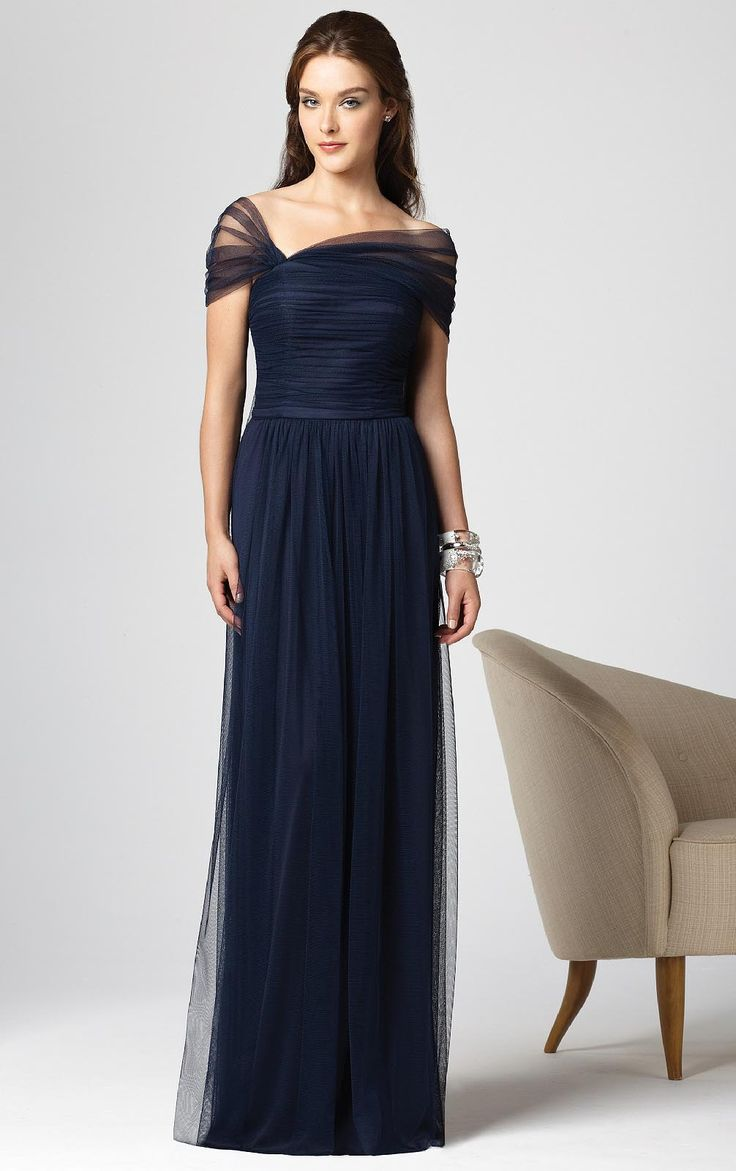 Royal blue chiffon one shoulder bridesmaid dresses with side split - Tulle Floor Length Scoop Short Sleeves Zipper Bridesmaid Dresses