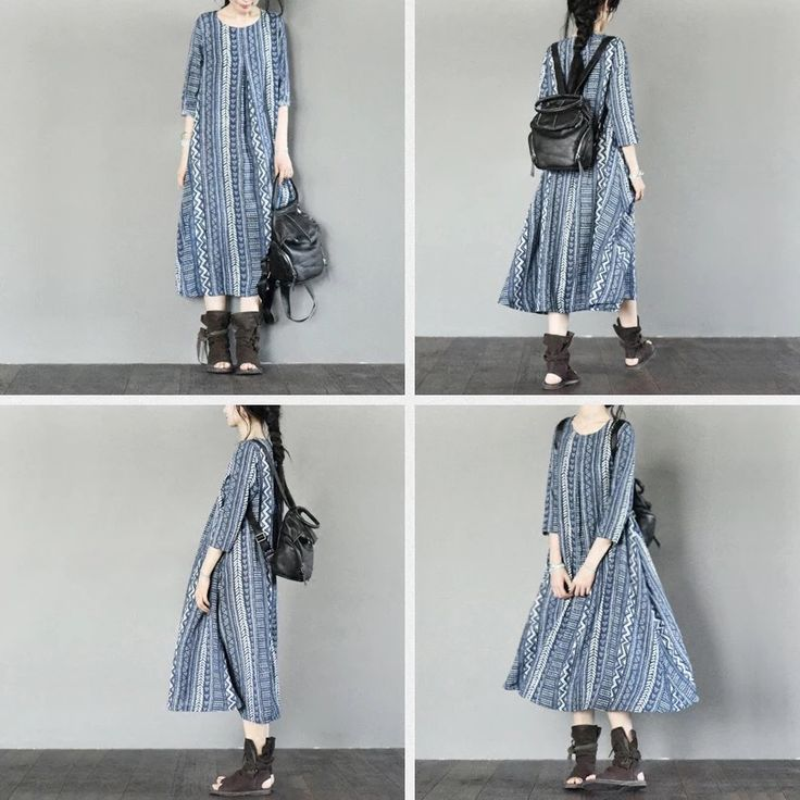 Blue linen causal dresses summer long maxi size dresses