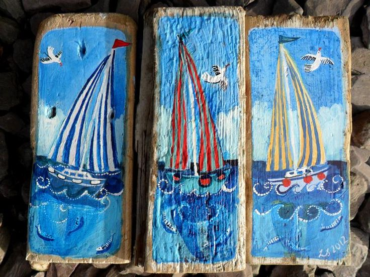 'striped sails' - driftwood art - click to view