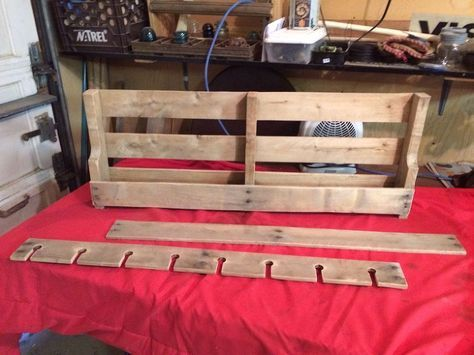 Pallet Wine Rack - Cut pallet to size...remove a few extra slats...on for the top shelf....another for the wine glass holder, and another (not shown here) cut t…