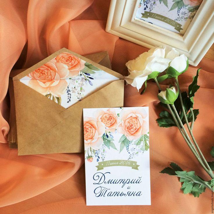 Купить Свадебные приглашения акварельные с розами, в стиле Прованс - свадебные приглашения, приглашение, приглашения, пригласительный