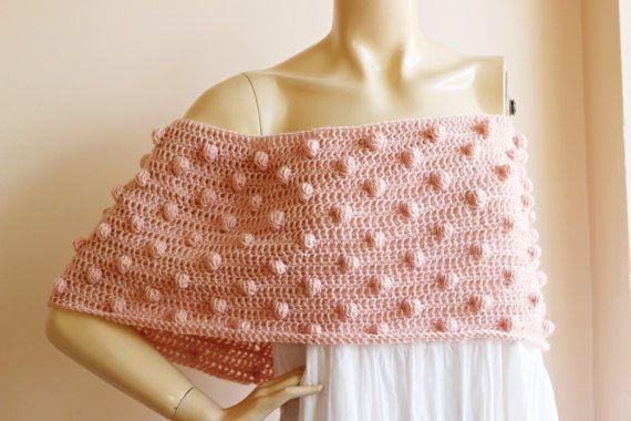 Blush roze haak Cape met bubbels/Blush Infinity sjaal