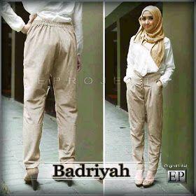 Badriyah Set by EP  harga 130.000 (Celana Harem highwest, Katun Strit + Kemeja Rayon, Tgn Pjg + Pashmina) (adem,tebal,lembut) ukuran baju All size (bisa untuk S,M,L&XL)