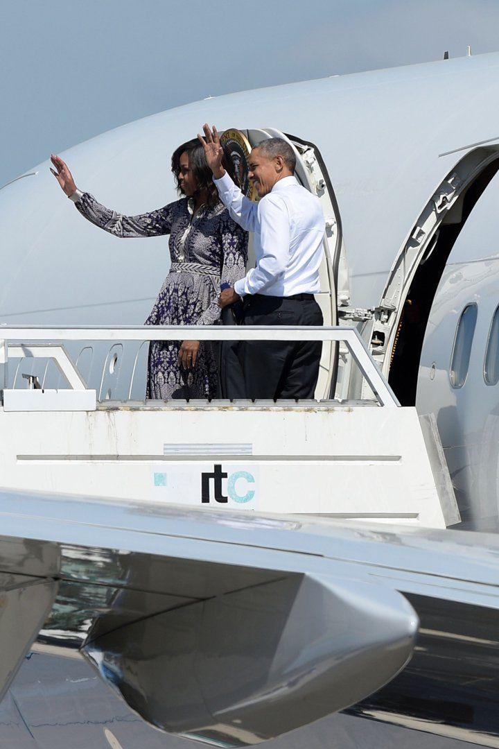 Michelle Obama Heads Home in a Fresh-Off-the-Runway Paisley-Print Dress