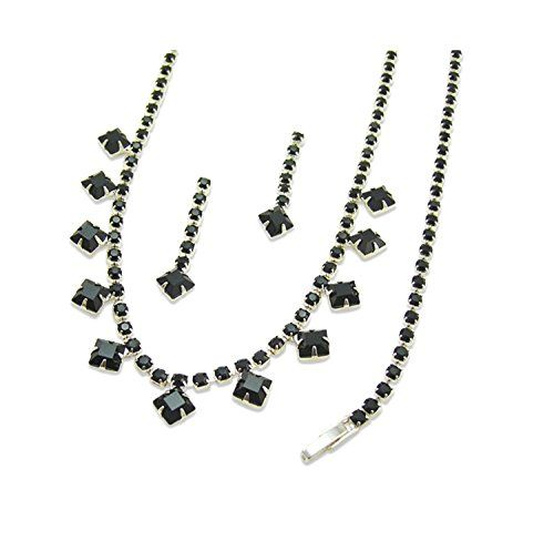 Jet Diamante Jewellery Set - Silver Finish - Swarovski Crystal - Crystal Jewellery Sets - Jewellery Gifts - Unusual Ladies Gifts