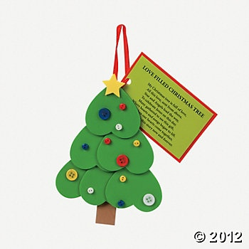 """Heart Christmas Tree Ornament With Poem Craft Kit. Fill your own Christmas tree with love using these heart-filled foam trees. Enjoy the added poem about the """"Love Filled Christmas Tree"""" while adding the adorable button ornaments!"""
