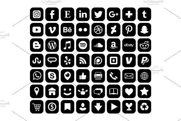 Rounded Square Black Social Icons Social Media Icons Black Social Media Icons Media Icon