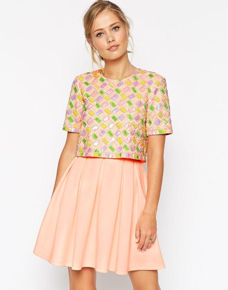 Image 1 ofASOS Candy Embellished T-Shirt Crop Top Scuba Skater Dress