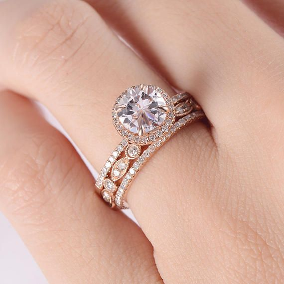 Morganite Engagement Ring Set Rose Gold Eternity Diamond Etsy In 2021 Morganite Engagement Ring Set Wedding Ring Sets Diamond Wedding Rings Sets
