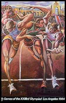 THE FINISH Track and Field 100m Sprint Poster - Los Angeles 1984 Olympic Games Official Print by Ernie Barnes ~Available at www.sportsposterwarehouse.com