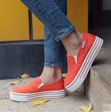 Marca Mujeres de Los Planos Mocasines de Plataforma de la Moda Otoño Comfort Shoes Casual Slip On Canvas Mujeres Blancas Zapatos Más El Tamaño 35-39 p7d31(China (Mainland))