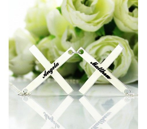 Sterling Silver 925 Double Cross Name Necklace DCN9
