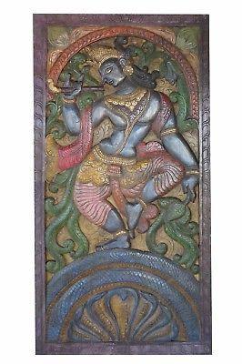 Antique-Vintage-Hand-Carved-Krishna-Dance-on-Snake-Kaliya-Barn-Door-Wall-Decor      http://stores.ebay.com/mogulgallery    #wallsculpture #wallhanging