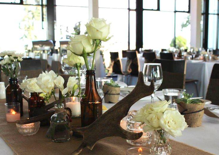 Vintage Wedding Table Decoration Brown Bottle Flower Vases Antler Centerpiece Wedding Bridal