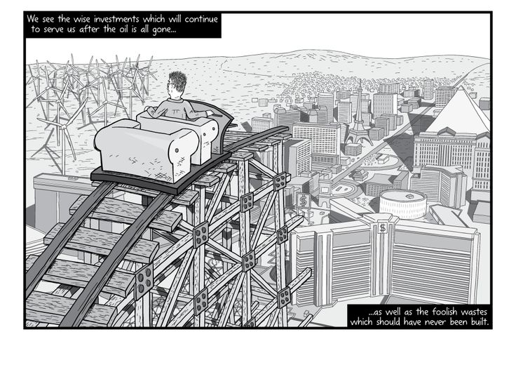 Cartoon illustration of man in roller coaster looking down to Las Vegas skyline beneath him. HIgh angle view over the shoulder of a rollercoaster passenger above the Las Vegas strip.  Image from Stuart McMillen's comic Peak Oil (2015), from the book Thermoeconomics (2017).