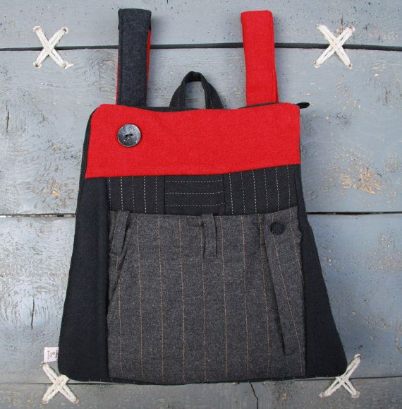 "Stylish upcycled backpack from recycled men's suit trousers, by ""Eating The Goober"""