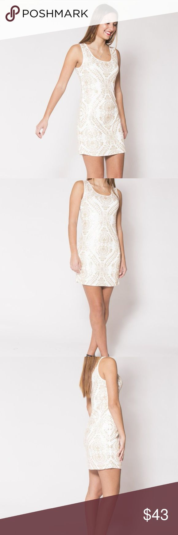 "Classy White Sequin Dress Want to look classy and sparkly at the same time?  We got the item for you.  This perfectly stretch dress is great for your next sophisticated party.  The sequin pattern is unique and perfectly subtle for the holidays.  Wear your coat over and put on some sparkly pumps - you'll feel like a million bucks!   Model is 5'8"" Outer shell - 95% polyester; Inner Lining - 5% Spandex 34 1/2"" long  Small is 0-4. Medium is 6. Large is 8. Dresses"