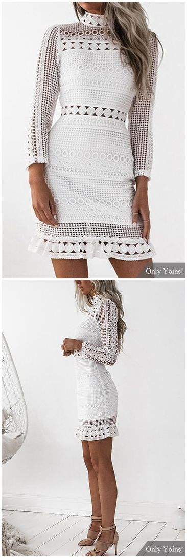 White Lace Cut Out Design High Neck Long Sleeves Dress US$27.95