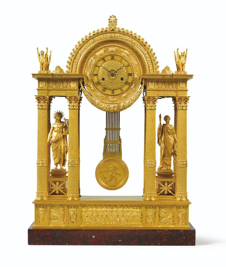 a large giltbronze mantel clock empire - Mantel Clock