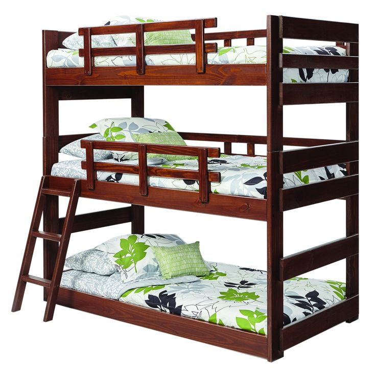 woodcrest furniture x 2633 heartland dark finish twin triple bunk bed - Hausgemachte Etagenbetten Mit Rutsche