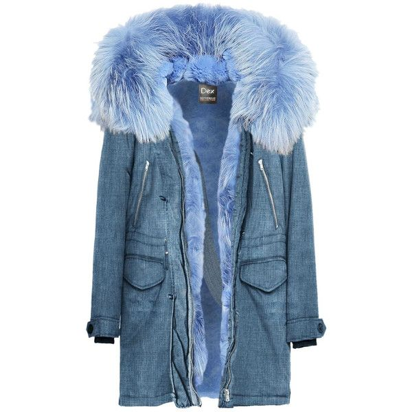 Faux Fur Parka ($200) ❤ liked on Polyvore featuring outerwear, coats, fake fur coat, blue faux fur coat, faux fur lined parka, parka coat and faux fur parka