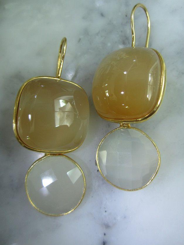 Ohrhänger - Ohrringe Mondstein Achat Gold Ring Chandelier - ein Designerstück von TOMKJustbe bei DaWanda