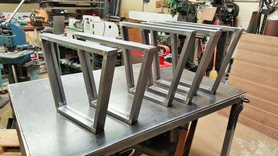 "Trapezoid Steel Legs, Dining Table Industrial Legs, Modern Steel Legs, Dining Bench Legs, Set of 2 Legs Over 23"" H"