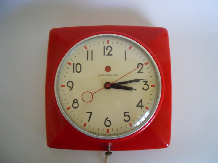 vintage wall clock kitchen red general electric
