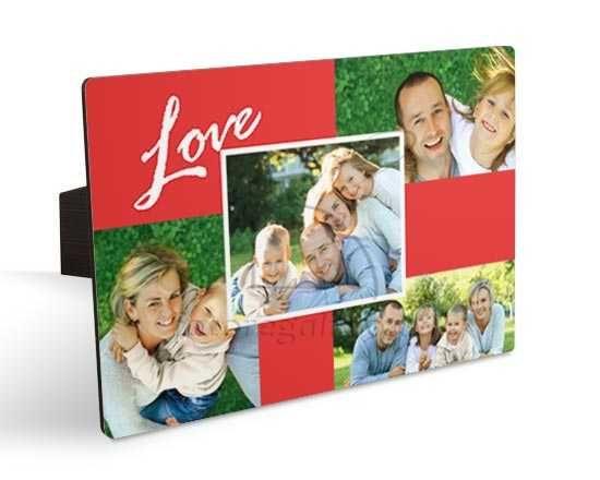 Cornice fotografica con collage rosso