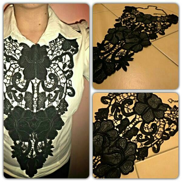 Handmade lace-leather necklace