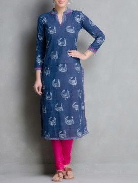 Indigo Hand Block Printed & Embroidered Cotton Kurta by Aavaran-M