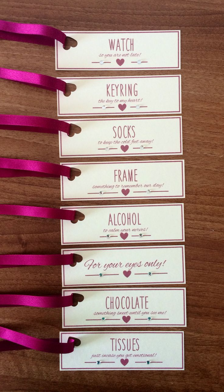Groom Survival Kit Tags - Claret Red. These gift tags are the perfect accompaniment to the presents you will give your groom on the morning of your wedding.  Each tag has a cute love heart and finished with clear diamantés to add that extra sparkle!  Minimum order of 6 tags per order which cost £3.50 plus p&p.   There are other ribbon colours and card options available to match the theme of your wedding.